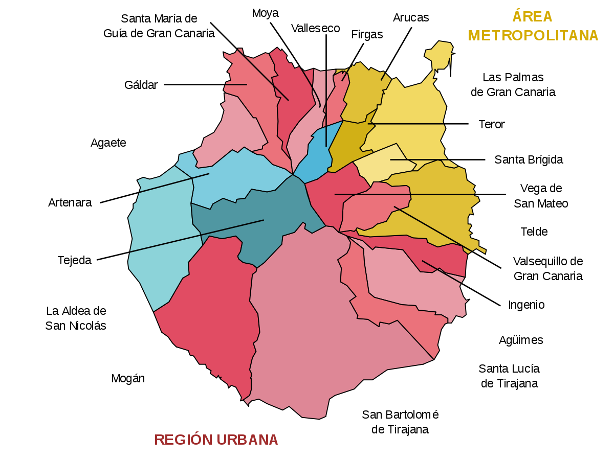 Municipios y zonas de Gran Canaria